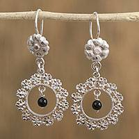 Sterling silver dangle earrings, 'Night Frame' - Sterling Silver Floral Frame Black Bead Earrings