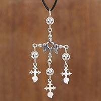 Sterling silver pendant necklace, 'Beating Heart Crosses' - Adjustable Sterling Silver Cross Necklace from Mexico