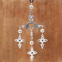 Sterling silver pendant necklace, 'Trinity Faith' - Sterling Silver Heart and Cross Necklace from Mexico