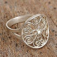 Sterling silver filigree cocktail ring, 'Loving Spirals' - Sterling Silver Filigree Cocktail Ring from Mexico
