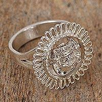 Sterling silver cocktail ring, 'Ancient Face' - Artisan Crafted Sterling Silver Cocktail Ring from Mexico
