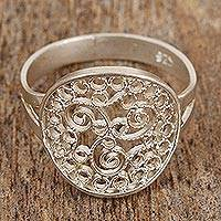 Sterling silver filigree cocktail ring, 'Paisley Trio' - Sterling Silver Cocktail Ring with Paisley Swirl Motif