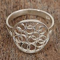 Sterling silver filigree cocktail ring, 'Circles Overflowing' - Sterling Silver Filigree Overlapping Circles Cocktail Ring