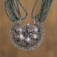 Sterling silver filigree and glass beaded pendant necklace,