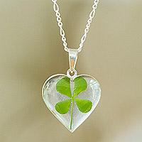 Natural leaf pendant necklace, 'Clover Heart' - Heart-Shaped Natural Clover Pendant Necklace from Mexico