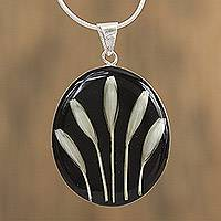 Natural flower pendant necklace, 'White on Black' - Black and White Natural Flower Pendant Necklace from Mexico
