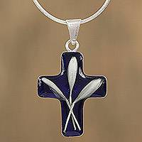 Natural flower pendant necklace, 'Cross and Flowers' - Cross-Shaped Natural Flower Pendant Necklace from Mexico