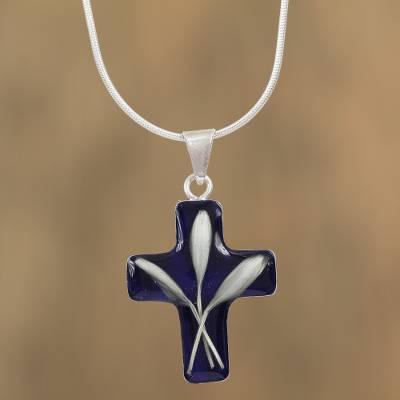 Natural wheat pendant necklace, 'Cross and Wheat' - Cross-Shaped Natural Flower Pendant Necklace from Mexico