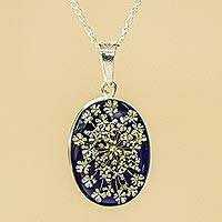Natural flower pendant necklace, 'Flowery Oval' - Oval Natural Flower Pendant Necklace from Mexico