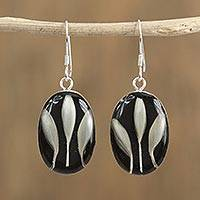 Natural flower dangle earrings, 'White on Black' - Black and White Natural Flower Dangle Earrings from Mexico