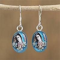 Natural flower dangle earrings, 'Blue Virgin' - Religious Natural Flower Dangle Earrings from Mexico