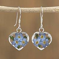 Natural flower dangle earrings, 'Blue Flowery Hearts' - Heart-Shaped Natural Flower Dangle Earrings from Mexico