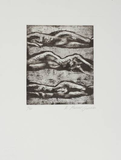 'Sketch I' - Mexican Black and White Etching Print of Artistic Nudes