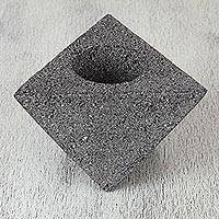 Stone decorative flower pot holder, 'Volcanic Triangle' - Decorative Basalt Stone Flower Pot Holder from Mexico