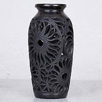 Ceramic decorative vase, 'Garden Glory' - Decorative Floral Cut Out Black Pottery Ceramic Vase