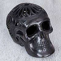 Ceramic statuette, 'Garden Skull' - Black Pottery Floral Cutwork Day of the Dead Skull Statuette