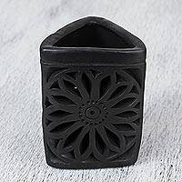 Ceramic pencil holder, 'Oaxacan Dusk' - Oaxaca Barro Negro Triangular Floral Ceramic Pencil Holder