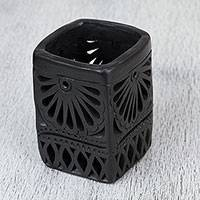 Ceramic pencil holder, 'Oaxacan Fan' - Oaxaca Barro Negro Ceramic Rectangular Pencil Holder