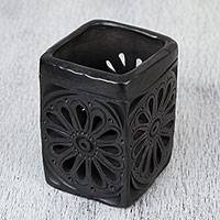 Ceramic pencil holder, 'Oaxacan Flower' - Oaxaca Barro Negro Rectangular Floral Ceramic Pencil Holder