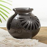Ceramic napkin holder, 'Fan Flower' - Oaxaca Barro Negro Ceramic Napkin Holder