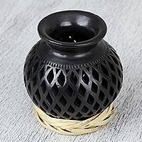 Ceramic decorative vase, 'Dark Lattice' - Openwork Motif Ceramic Decorative Vase from Mexico
