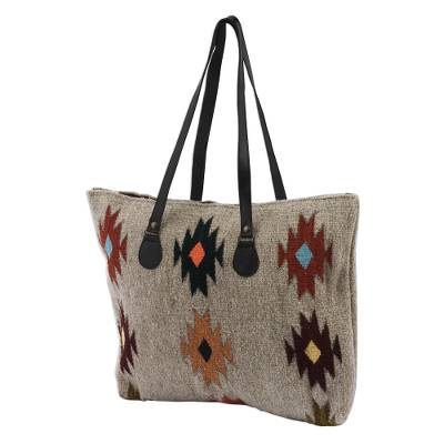 Novica Leather accent Zapotec wool tote, Forest Fanfare