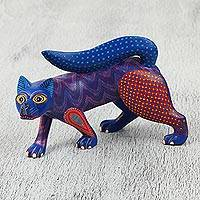 Wood alebrije sculpture, 'Night Prowler' - Colorful Hand Carved and Painted Fox Alebrije Sculpture