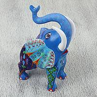 Wood alebrije sculpture, 'Celestial Elephant' - Hand Carved Blue with Colorful Patterns Alebrije Elephant