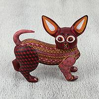Wood alebrije sculpture, 'Chihuahua' - Hand Carved Burgundy Colorfully Patterned Alebrije Chihuahua