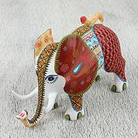 Wood alebrije sculpture, 'Adored Elephant' - Hand Carved and Painted Multi-Color Alebrije Elephant