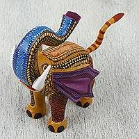 Wood alebrije figurine, 'Fantasy Elephant' - Colorful Handcrafted Trumpeting Elephant Wood Alebrije