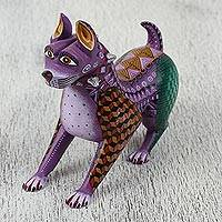 Wood alebrije figurine, 'Purple Pup Guardian' - Colorful Handcrafted Wood Alebrije Dog with Studded Collar