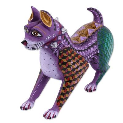 Colorful Handcrafted Wood Alebrije Dog with Studded Collar