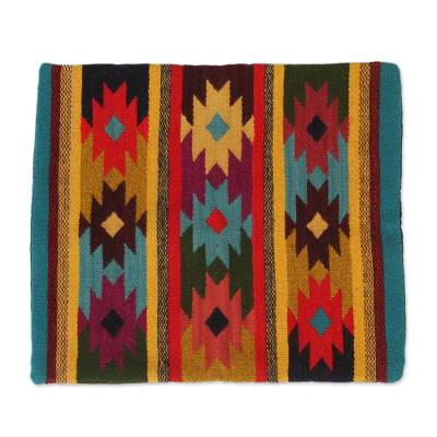 Geometric and Striped Pattern Zapotec Cotton Cushion Cover