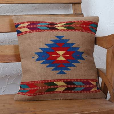 Zapotec wool cushion cover, 'Changing Winds' - Naturally Dyed Handwoven Multicolor Wool Cushion Cover