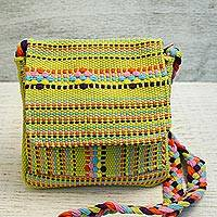 Cotton sling, 'Chartreuse Beauty' - Handwoven Cotton Sling in Chartreuse from Mexico