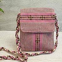 Cotton sling, 'Palo de Rosa' - Handwoven Cotton Sling in Dusty Rose from Mexico