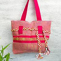 Cotton tote, 'Lovely Azalea' - Handwoven Cotton Tote in Azalea from Mexico