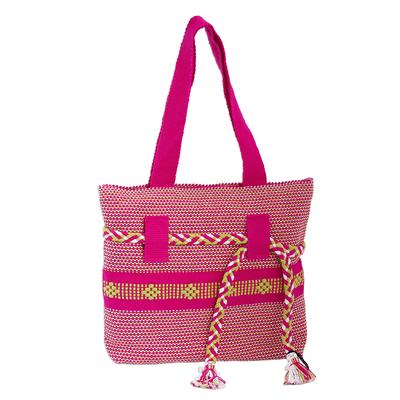 Novica Cotton shoulder bag, Interlaced in Pink