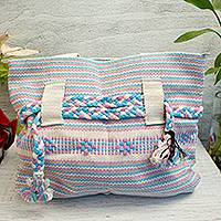Cotton tote, 'Lovely Linen' - Handwoven Cotton Tote in Linen from Mexico