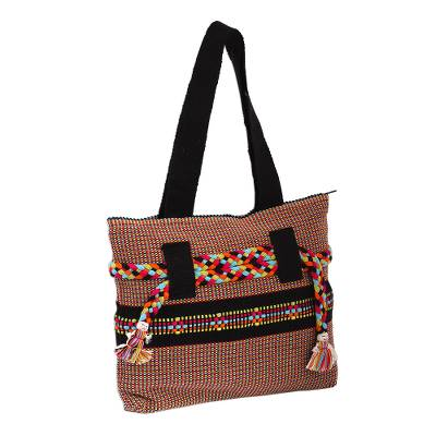 Handwoven Cotton Tote in Black from Mexico