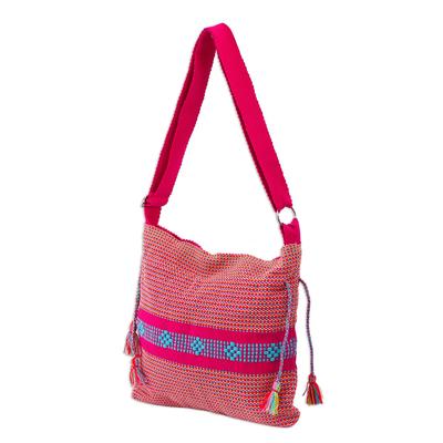Handwoven Cotton Sling Handbag in Fuchsia from Mexico