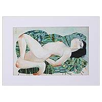 'Nude with Green Pillows' - Signed Modern Artistic Nude Painting from Mexico