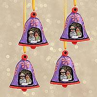 Handcrafted ornaments, 'Ring in the Joy' (set of 4) - Miniature Nativity Scene Bell-Shaped Ornaments (Set of 4)