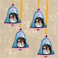 Resin ornaments, 'Holy Bells' (set of 4) - Handcrafted Resin Bell Ornaments from Mexico (Set of 4)