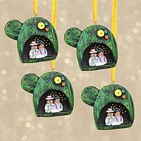 Resin ornaments, 'Cactus Nativity' (set of 4) - Handcrafted Cactus Resin Ornaments from Mexico (Set of 4)