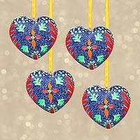 Resin ornaments, 'Warm Hearts' (set of 4) - Handcrafted Resin Heart Ornaments from Mexico (Set of 4)