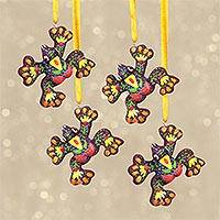 Resin ornaments, 'Frog Festivities in Maroon' (set of 4) - Handcrafted Multicolor Frog Ornaments (Set of 4)
