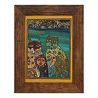 Straw painting, 'Stellar Cats' - Signed Framed Straw Painting of Cats from Mexico