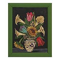 Straw painting, 'Flowers For Mom' - Signed Framed Straw Painting of Flowers from Mexico